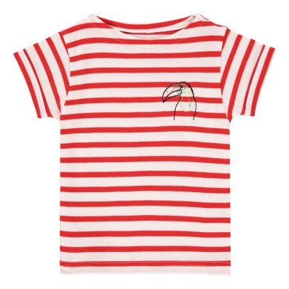 Maison Labiche Gestreiftes T-Shirt Vogel Stickerei  Rot-listing
