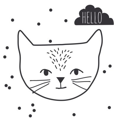 MIMI'lou Just A Touch Hello Cat Sticker-listing
