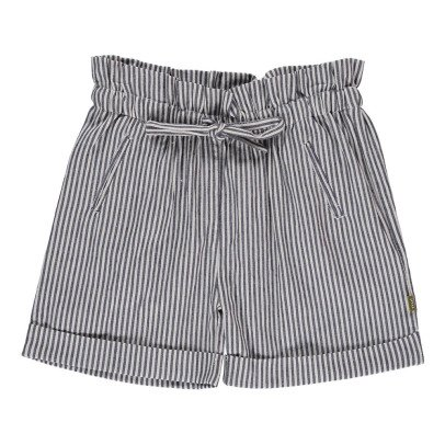 Nui Lauren Chambray Striped Organic Cotton Shorts-listing