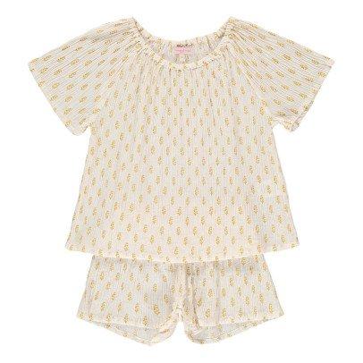 Moon et Miel Pijama Blusa + Short hojas-listing
