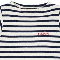 Maison Labiche Gestreiftes T-Shirt Sunshine bestickt  Navy-listing
