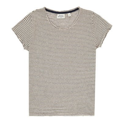 Hartford Tomoe Striped Linen T-Shirt-listing