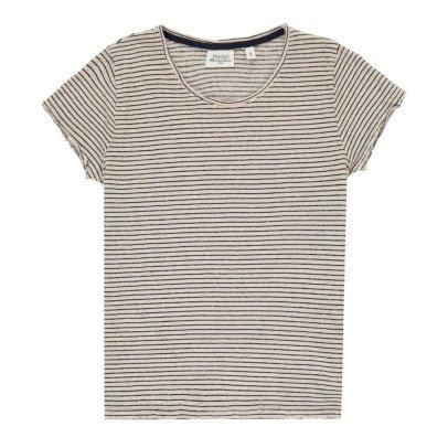 Hartford Tomoe Striped Linen T-Shirt-listing