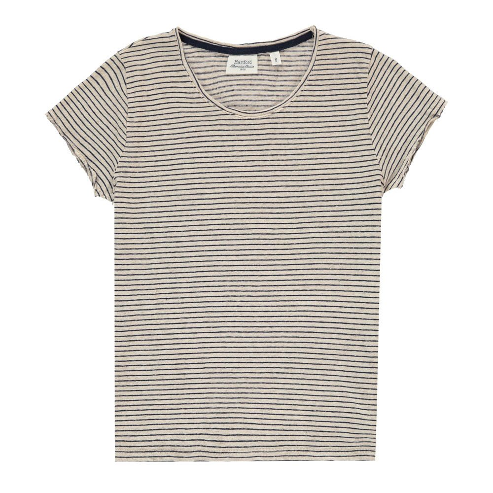 Hartford Tomoe Striped Linen T-Shirt-product