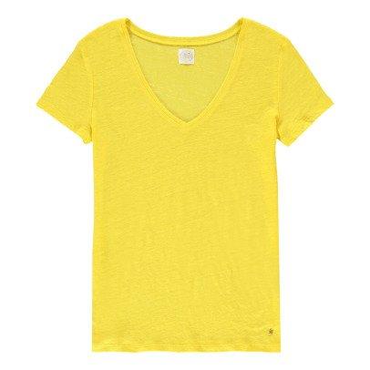 Des petits hauts Camiseta Lino Cuello V Zephos-listing