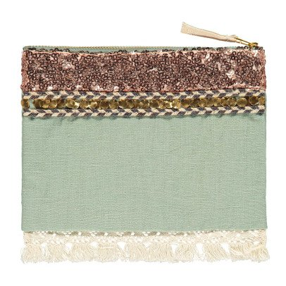Louise Misha Pochette Coton et Lin Sequins Breloque - Collection Femme --listing