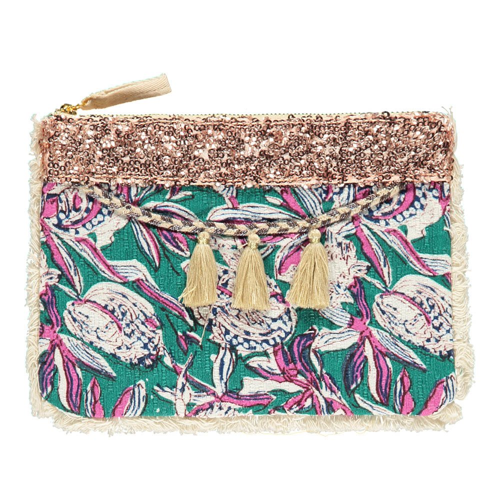 Louise Misha Uluwatu Floral Linen and Cotton Pouch - Women's Collection-product