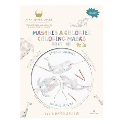 Ninn Apouladaki Maschere specie marine da colorare - Set di 3 -listing