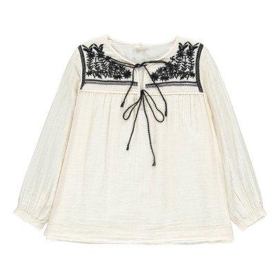 Soeur Violette Embroidered Gaze Blouse-listing