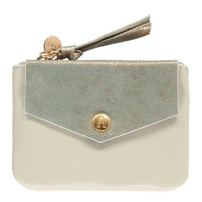 Craie Finance Two-Tone Leather Card Holder with Zip-listing