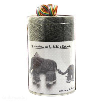 Idées de Saison by La Droguerie Doudous éléphant et son bébé à tricoter-listing