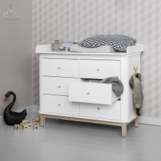 Oliver Furniture Cómoda cambiador 6 cajones roble, cambiador grande-listing