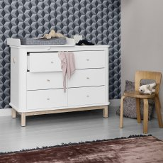 Oliver Furniture 6 Drawer Oak Dresser with Small Baby Changing Top-listing