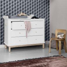 Oliver Furniture Cómoda cambiador 6 cajones roble, cambiador pequeño-listing