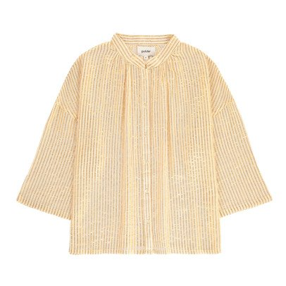 Polder Paradise Striped Lurex Cotton Button Up Blouse-listing