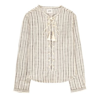 Polder Phoenix Lace Up Striped Blouse-listing