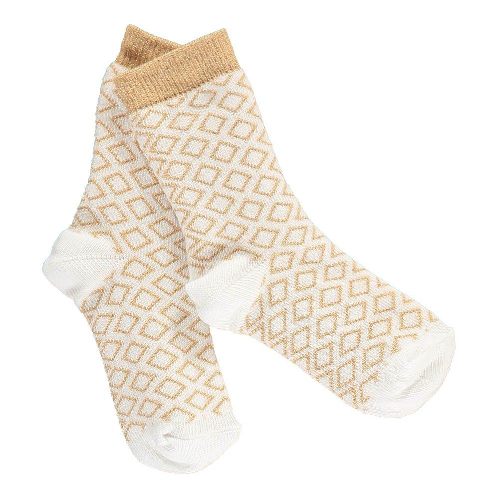 Gold Lurex Diamond Socks White-product
