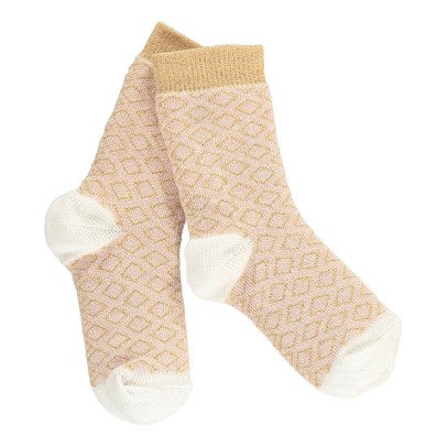 Gold Lurex Diamond Socks Dusty Pink-listing