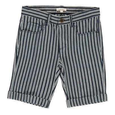 Caramel Collard Striped Bermuda Shorts-listing