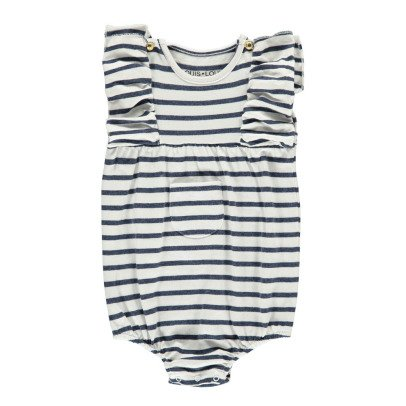 Louis Louise Violin Striped Ruffled Romper-listing