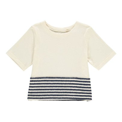 MAX & LOLA T-Shirt Détail Rayé Malis Ecru-listing
