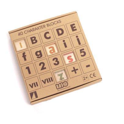 Bajo Juego de cubos letras y números de madera - 40 piezas-listing