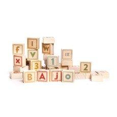 Bajo Bausteinspiel mit Buchstaben und Zahlen aus Holz - 40 Teile-listing