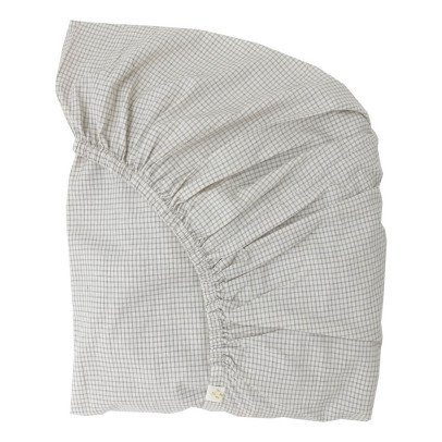 Camomile London Small Check Lined Fitted Sheet-listing