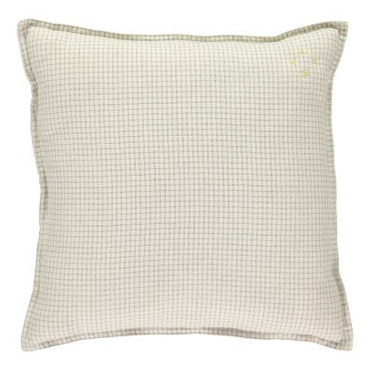 Camomile London Double Check Garnished Cushion 30x30cm-listing