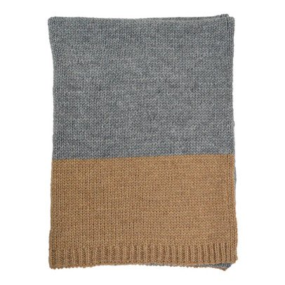 Camomile London Camel-Grey Knitted Blanket-listing