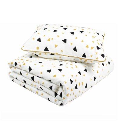 Nobodinoz Toronto Black Yellow Triangle Cotton Bed Set-listing