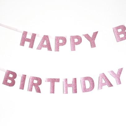 My Little Day  Happy Birthday Girlande-Rosa-listing