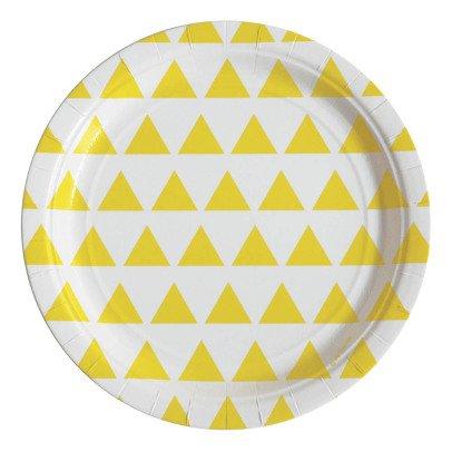 My Little Day Assiettes en carton triangles jaunes - Lot de 8-listing
