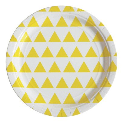 My Little Day Paper Plates, Yellow Triangles - Set of 8-listing
