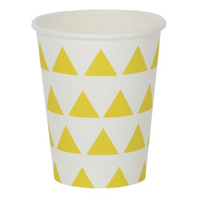 My Little Day Gobelets en carton triangles jaunes - Lot de 8-listing