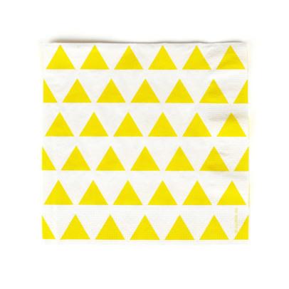 My Little Day Serviettes en papier triangles jaunes - Lot de 20-listing
