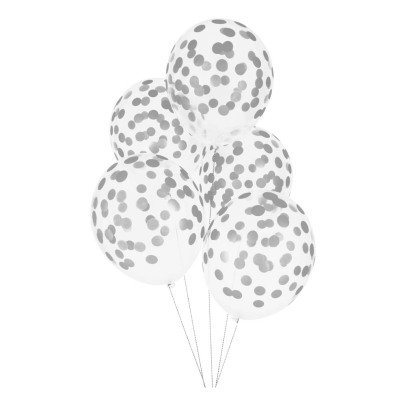 My Little Day Palloncini stampa confetti argentati - Confezione da 5-listing