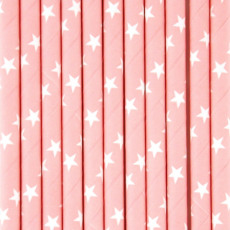My Little Day Pale pink straws with white stars - set of 25-listing