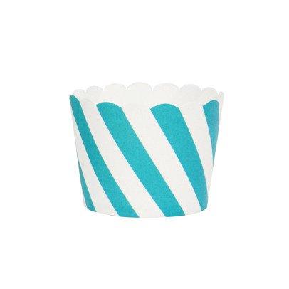 My Little Day Diagonal Blue Stripe Dessert Cases - Set of 25-listing