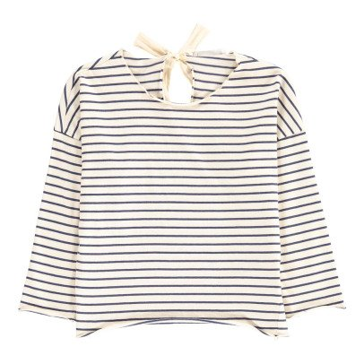 Babe & Tess Bow Back Striped T-Shirt-listing