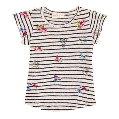 Simple Kids T-shirt Rayé Fleurs Brodées Ellis-listing