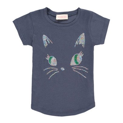 Simple Kids T-shirt Chat Sequins Puss-listing