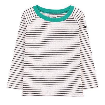 ARCH & LINE Green Collar Striped T-Shirt-listing
