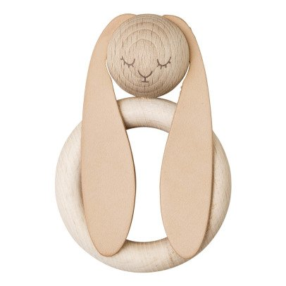 garbo&friends Rabbit Wood and Natural Leather Teething Ring-product