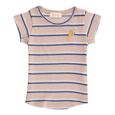 Simple Kids Summer Embroidered Ice Cream Striped T-Shirt-listing