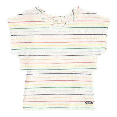 Chloé Tshirt Cropped + Débardeur Intégré Rayés-listing