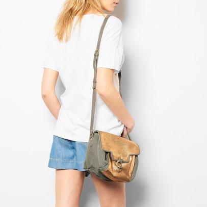 Craie Zweiseitige Handtasche aus Stoff und Leder Vidéo -listing