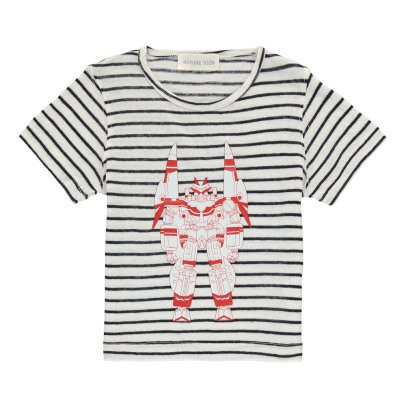 Simple Kids T-shirt Righe Robot-listing