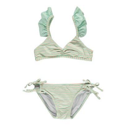 Bonnet à pompon Ruffled Stripe 2 Piece Swimsuit-listing