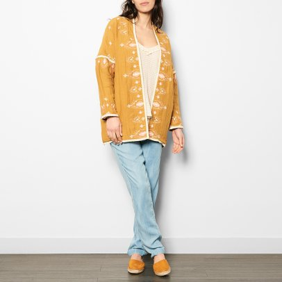 Louise Misha Jade Embroidered Linen and Cotton Jacket - Women's Collection-listing